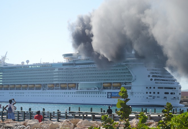Cruse ship freedom of the seas caught fire off jamaica