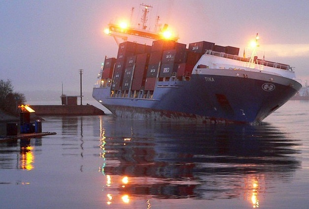 Container carrier Tina grounded