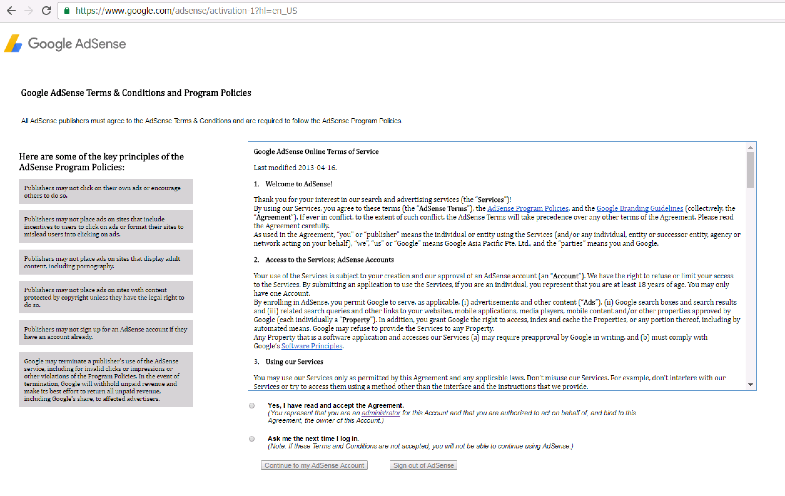 Google Adsense redirects Australian's to its Terms & Policies page