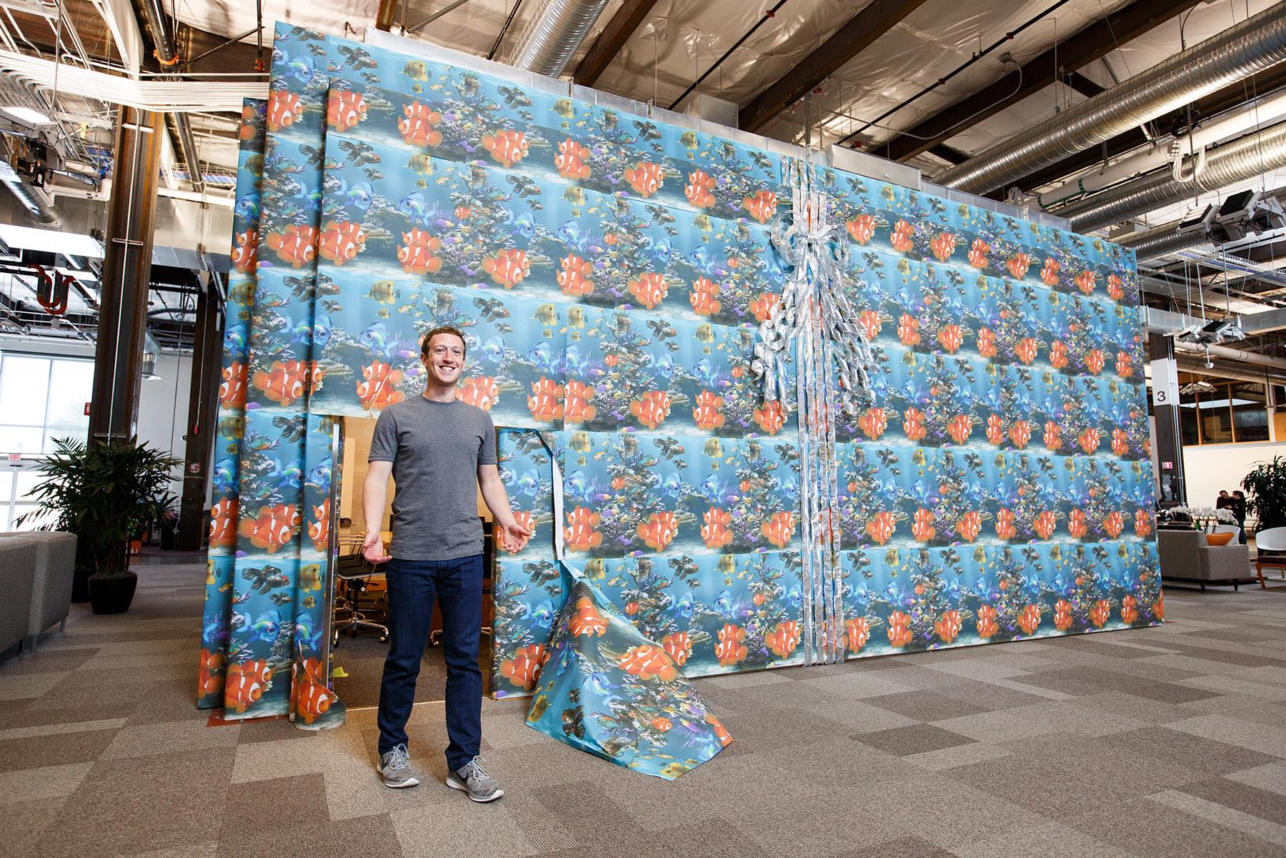 Mark Zuckerberg celebrating April Fools Day at Facebook Building 20