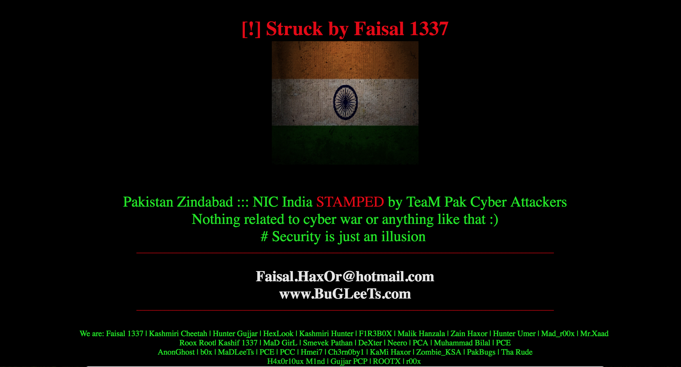 Over 40 Indian NIC/Government Websites Hacked & Defaced